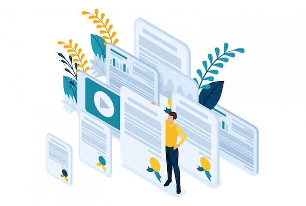 Isometric bright site concept education and coaching is the key to success. diplomas and knowledge. concept for web design