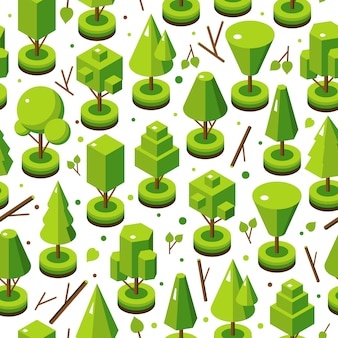 Isometric bright tree set in seamless pattern
