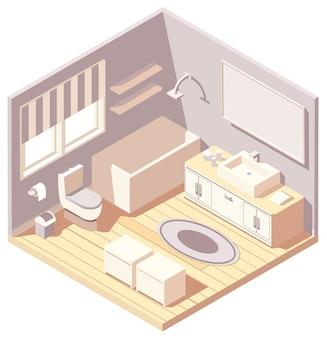 Изометрическая коричневая современная иллюстрация интерьера ванной комнаты
