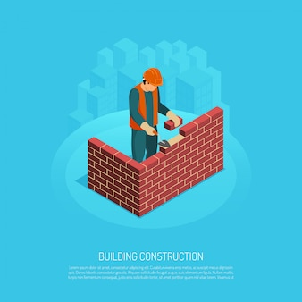 Isometric builder architect with editable text human character of worker and image of brickwall under construction vector illustration