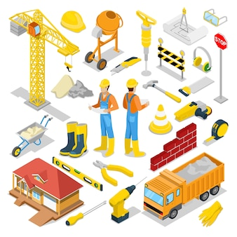 Isometric builder with construction instruments and crane. vector 3d flat illustration