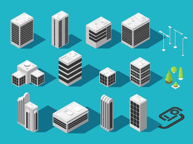 Isometric building for 3d city map vector set