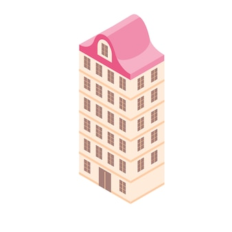 Isometric building in 3d flat style