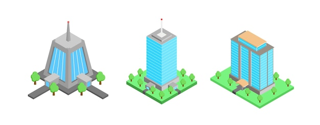 Isometric building apartment set, office or business center. vector architecture collection.