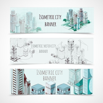 Isometric building banners