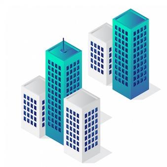 Isometric building icon set