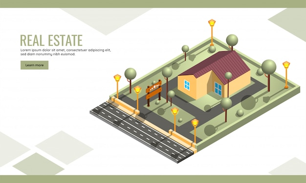 Isometric, building landing page or web template for website design