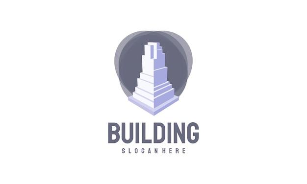 아이소메트릭 건물 로고 디자인 벡터, 부동산 로고 템플릿, 로고 심볼 아이콘