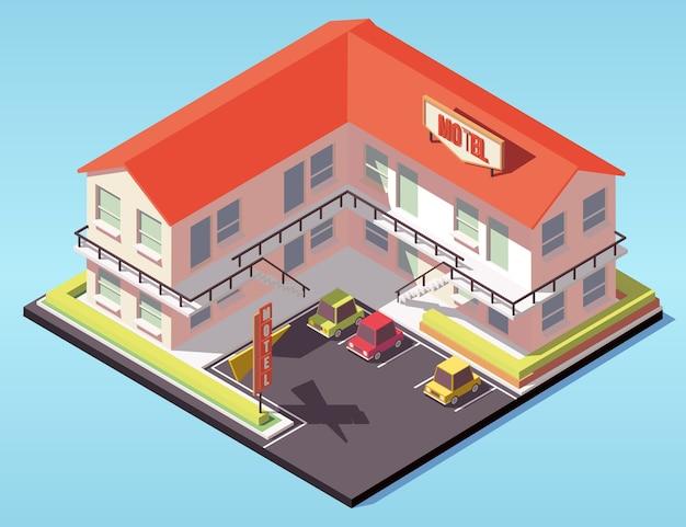 等尺性の建物。駐車場付きのモーテル。等尺性モーテル。