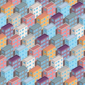 等角投影の建物のシームレスなパターン。都市建築コンセプトの背景。アイソメトリックスタイルの都市の建物。ベクトルイラスト。
