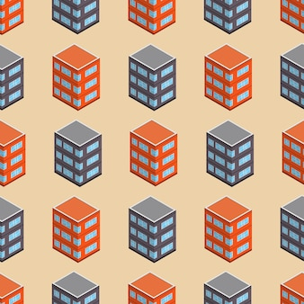 Isometric building seamless pattern. urban architecture concept background. city buildings in isometric style. vector illustration.