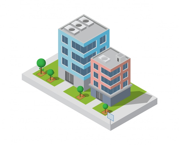 Isometric building.two building on yard with road. building 3d, smart city