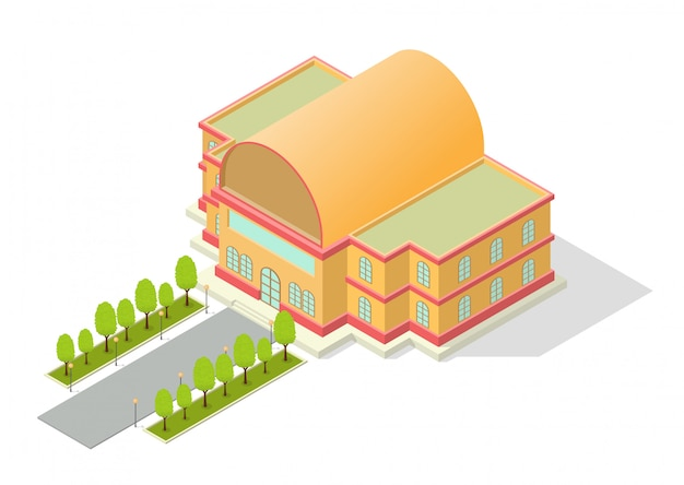 Isometric building with road and trees