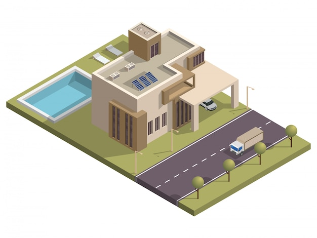 Isometric building with swimming pool and car parking along transport street .