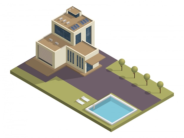 Isometric building with swimming pool and garden yard .