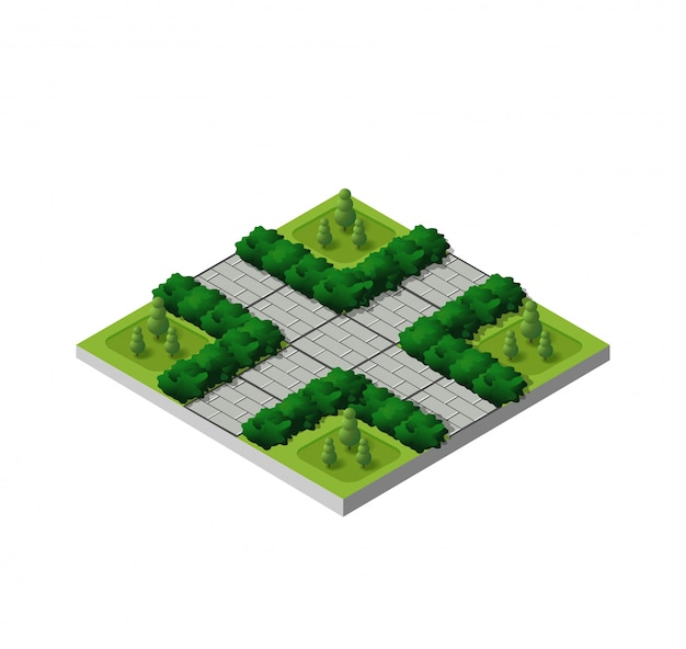 Isometric buildings city park