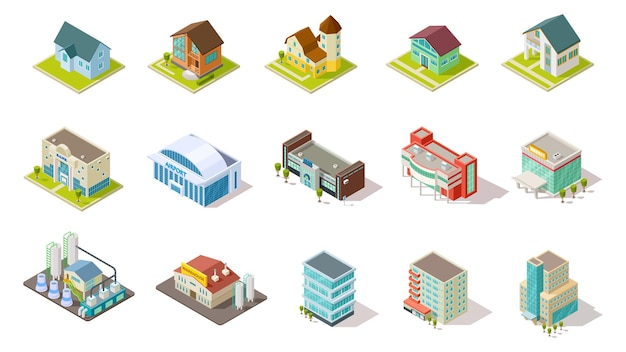 Isometric buildings. city urban infrastructure, residential, industrial and social buildings 3d  set. architecture residential building, house airport, infrastructure isometric illustration