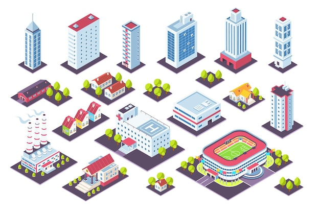 Isometric buildings set. city houses and industrial constructions, 3d factory offices cottage museum