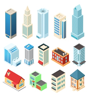 Isometric buildings set  on white, office skyscraper and residential house,  illustration