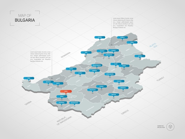 Isometric   bulgaria map. stylized  map illustration with cities, borders, capital, administrative divisions and pointer marks; gradient background with grid.