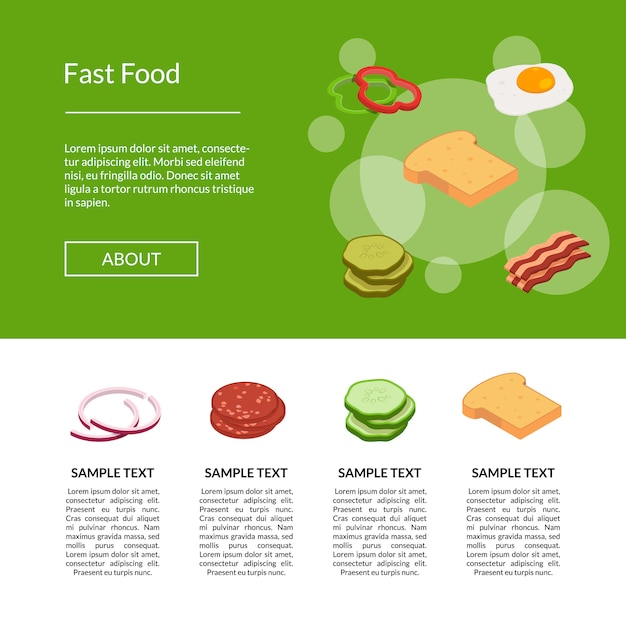 Isometric burger  banner for web