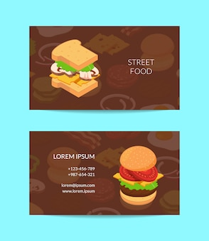 Isometric burger business card  colored