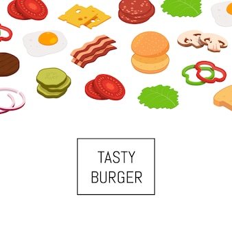 Isometric burger ingredients banner