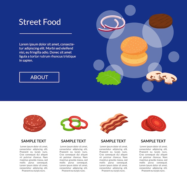 Isometric burger ingredients  banner and