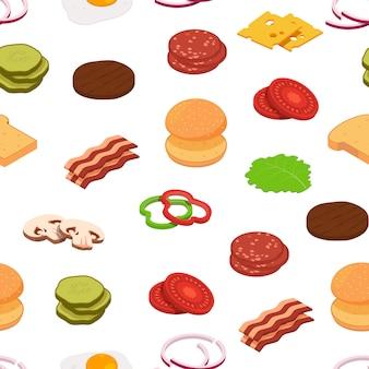Isometric burger ingredients pattern background