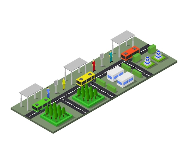 Isometric bus station