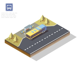 Isometric bus stop, illustration of transport, road, bus stop