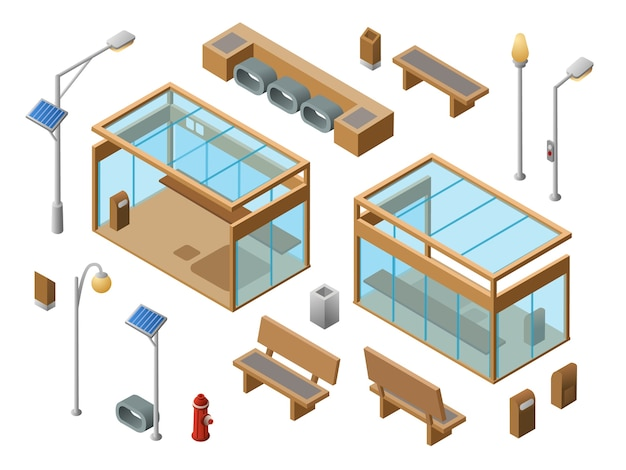 Isometric bus stop objects set. 3d city glass station benches sun panel streetlights