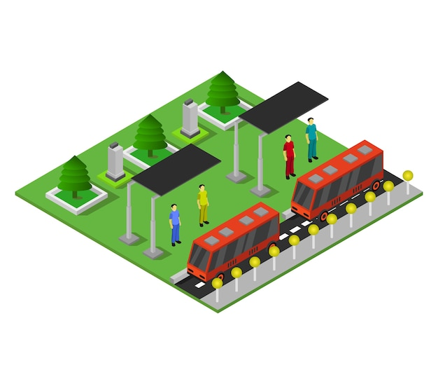 Isometric bus stop