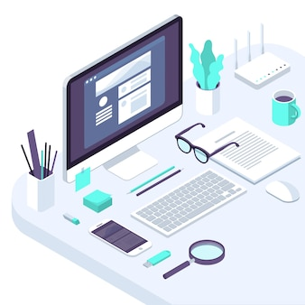 Isometric busines office flat design  trendy color workspace concept illustration for  business internet company seo  and financial analytics tools pofessional workplace