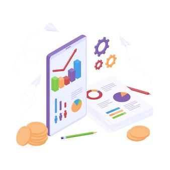 Изометрическая концепция бизнес-анализа с графикой на мобильном телефоне и бумажных документах