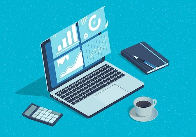 Концепция изометрического бизнес-анализа с ноутбуком