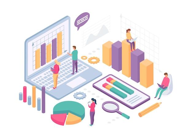 Изометрический бизнес-анализ. люди работают с диаграммами данных, графиком статистики и метриками на экране компьютера. вектор финансовой аналитики. изометрический анализ иллюстрации, изометрия управления бизнесом