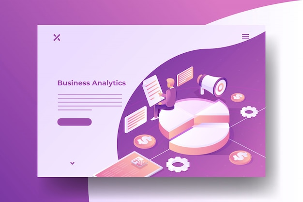 Isometric business banner