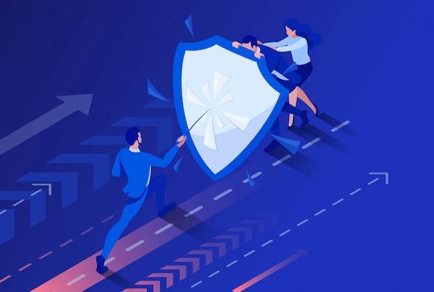 Изометрические бизнес бизнесменов, прячась за щит от атаки.