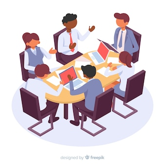 Isometric business characters in a meeting