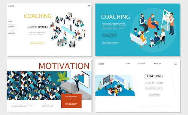 Isometric business coaching websites set with staff training seminar brainstorming conference businessman speaking to auditorium from tribune