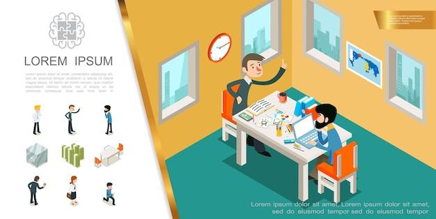 Изометрическая бизнес красочная композиция с менеджерами, работающими в офисе, деньги, стеки, стулья, безопасные и деловые люди в разных позах, иллюстрация,