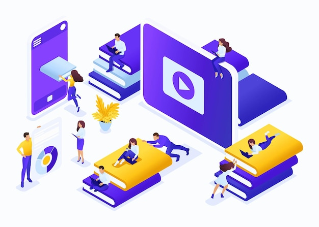 Isometric business concept choose the right your book in our library. great concept for a landing page.