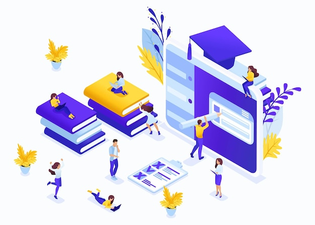 Isometric business concept e-learning for second higher education, self-study, advanced training. great concept for a landing page.