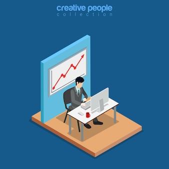 Изометрические бизнес-концепция плоская 3d изометрия веб-сайт концептуальная иллюстрация
