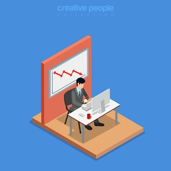 Isometric business concept flat 3d isometry web site conceptual illustration