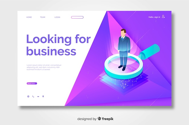 Isometric business concept for landing page
