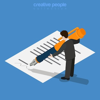 等尺性のビジネスコンセプト。マイクロサラリーマンの男性サインは、印刷されたドキュメントの巨大なインクペンで承認します