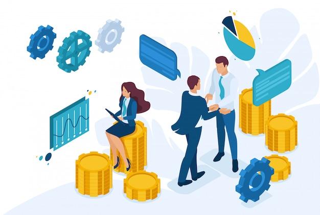 Изометрические бизнес-концепция совместной работы для создания решения.