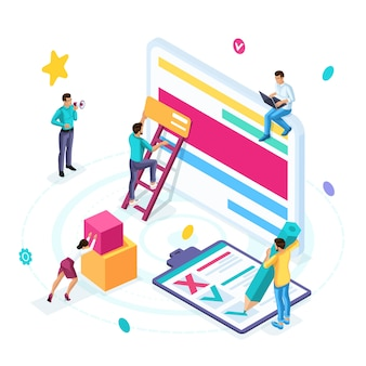 Изометрическая бизнес-концепция, аутсорсинг, фриланс, совместная работа над одним проектом.